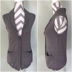 BANANA REPUBLIC Gray Sleeveless Cardigan Sweater